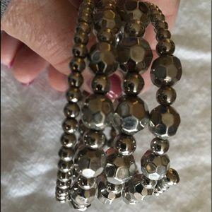 Jewelry - Lovely Silver Beaded Wrap Bracelet